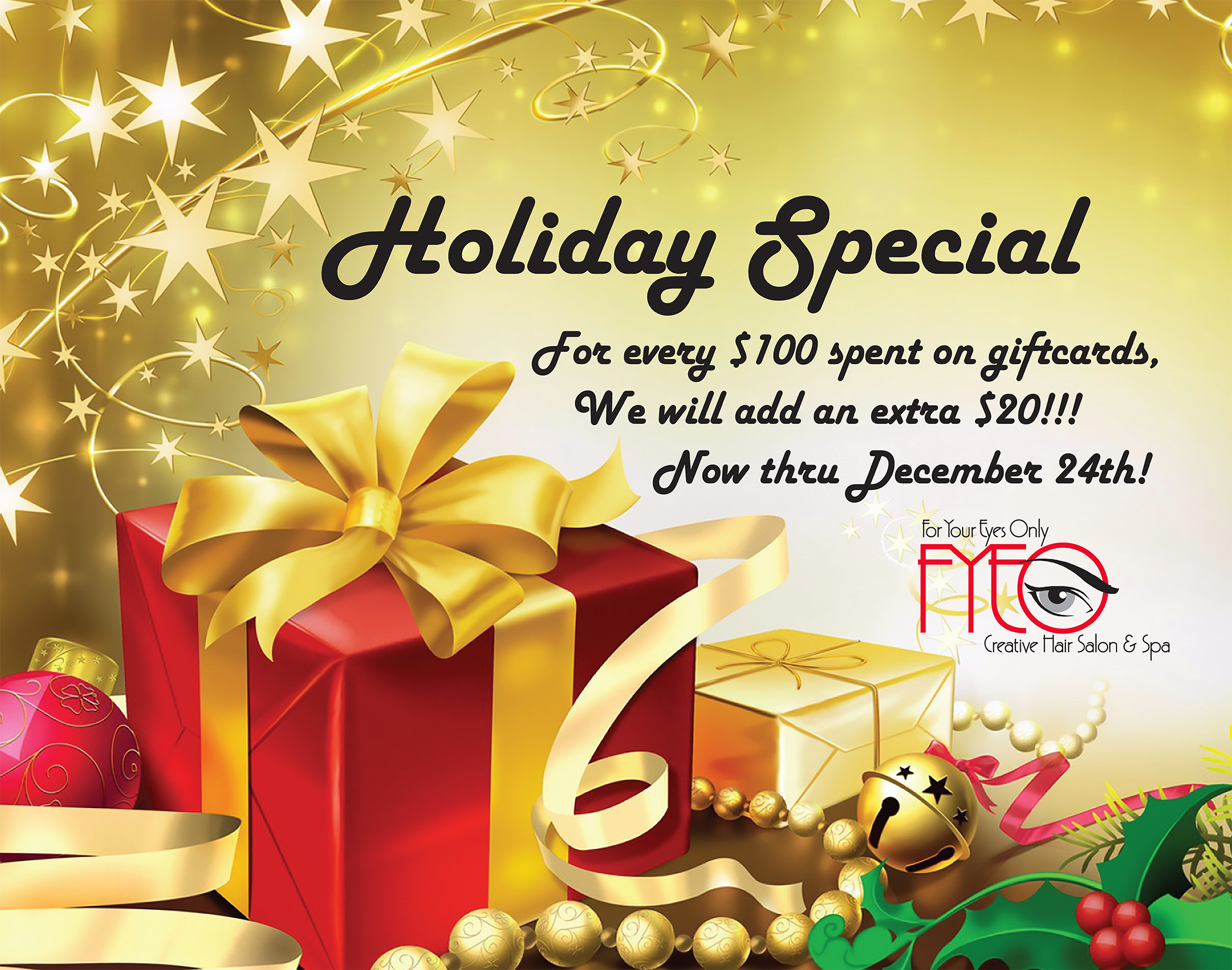 holiday specials buy in gift certificates receive  200092 fyeo holiday gift card poster
